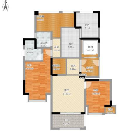 中旅狮山名门2室2厅2卫1厨144.00㎡户型图