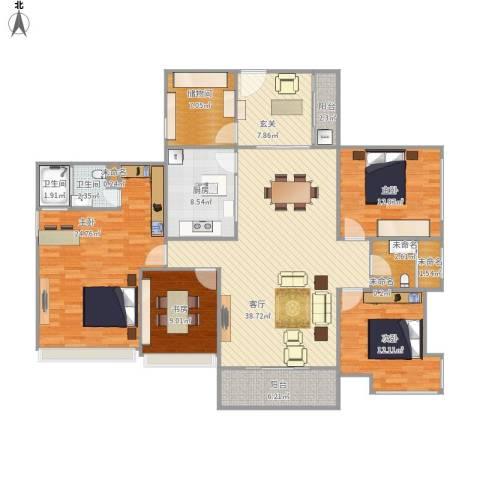 广源松湖春天4室1厅2卫1厨186.00㎡户型图