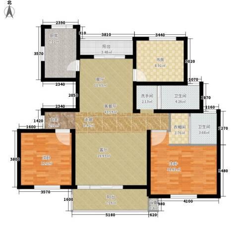 南湖林语3室1厅2卫1厨117.00㎡户型图