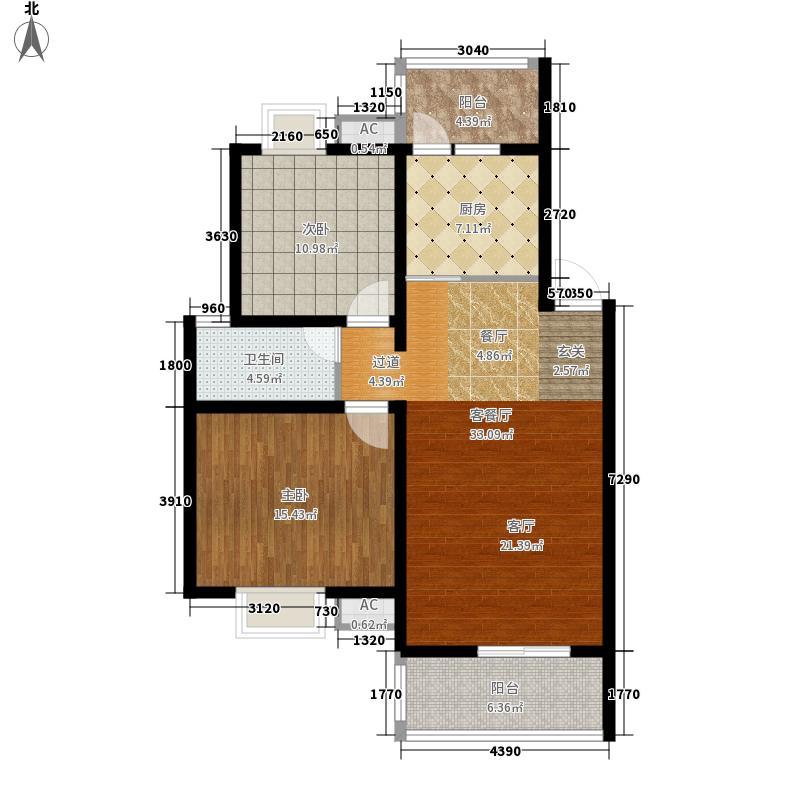 东方威尼斯92.00㎡三期23号楼标准层A3户型