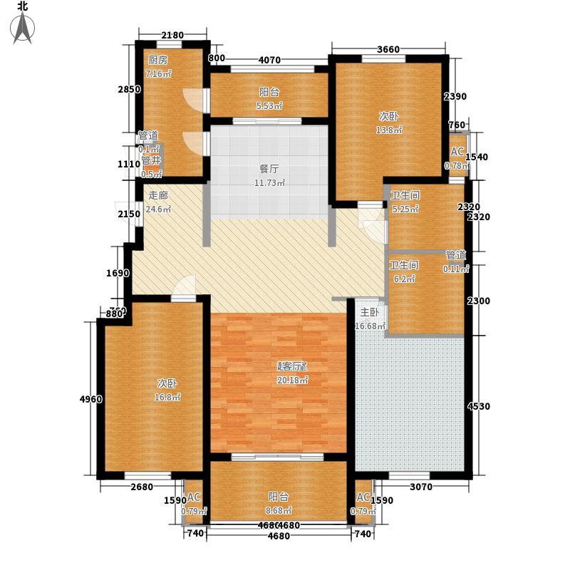 三箭汇福山庄158.00㎡5号楼观景洋房 三室两厅两卫户型3室2厅2卫