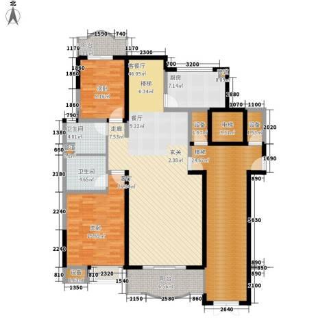 华浮宫桂园2室1厅2卫1厨184.00㎡户型图
