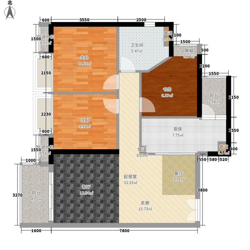 元邦明月水岸104.00㎡J户型3室2厅