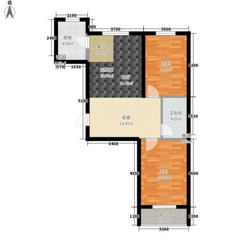 百合世嘉2室0厅1卫1厨89.00㎡户型图
