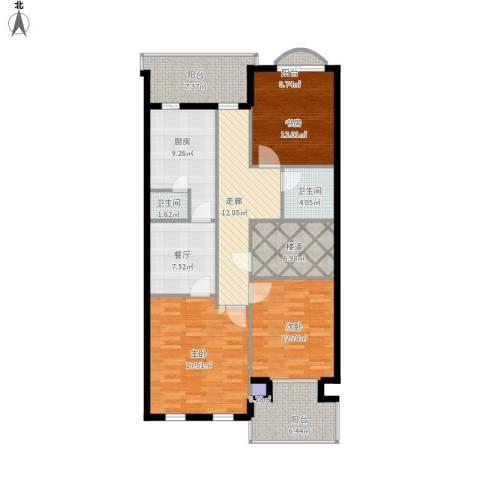 万通龙山逸墅3室1厅2卫1厨138.00㎡户型图