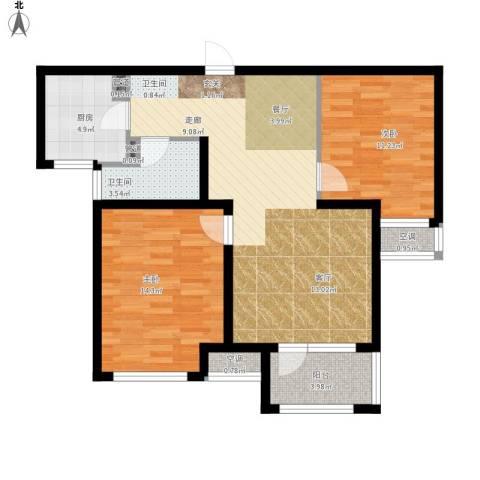 荣盛・白鹭岛2室1厅1卫1厨98.00㎡户型图