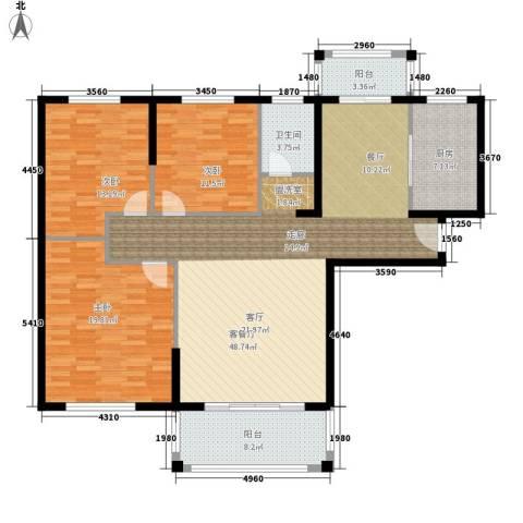 建业森林半岛3室1厅1卫1厨129.00㎡户型图