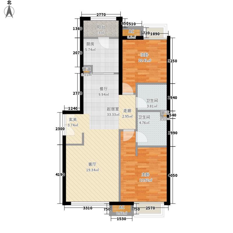 天津富力城3期1号楼1门03户型108.81户型