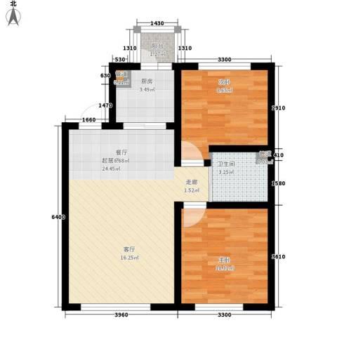 像素公园2室0厅1卫1厨80.00㎡户型图