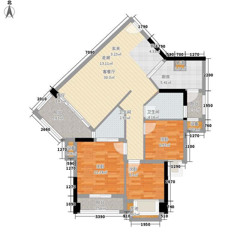 豪利花园99.30㎡三期城中荟顺景阁C栋2~14层03单位户型