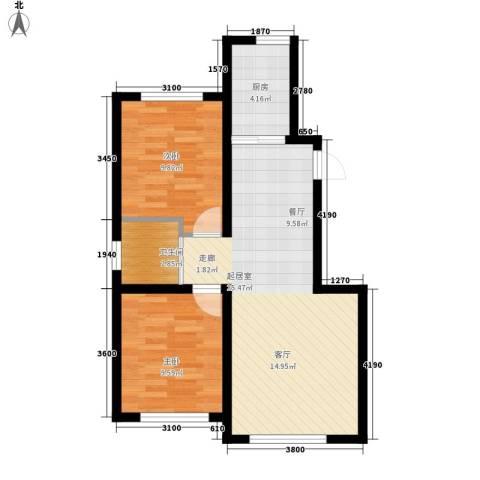 像素公园2室0厅1卫1厨77.00㎡户型图