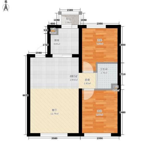 像素公园2室0厅1卫1厨76.00㎡户型图