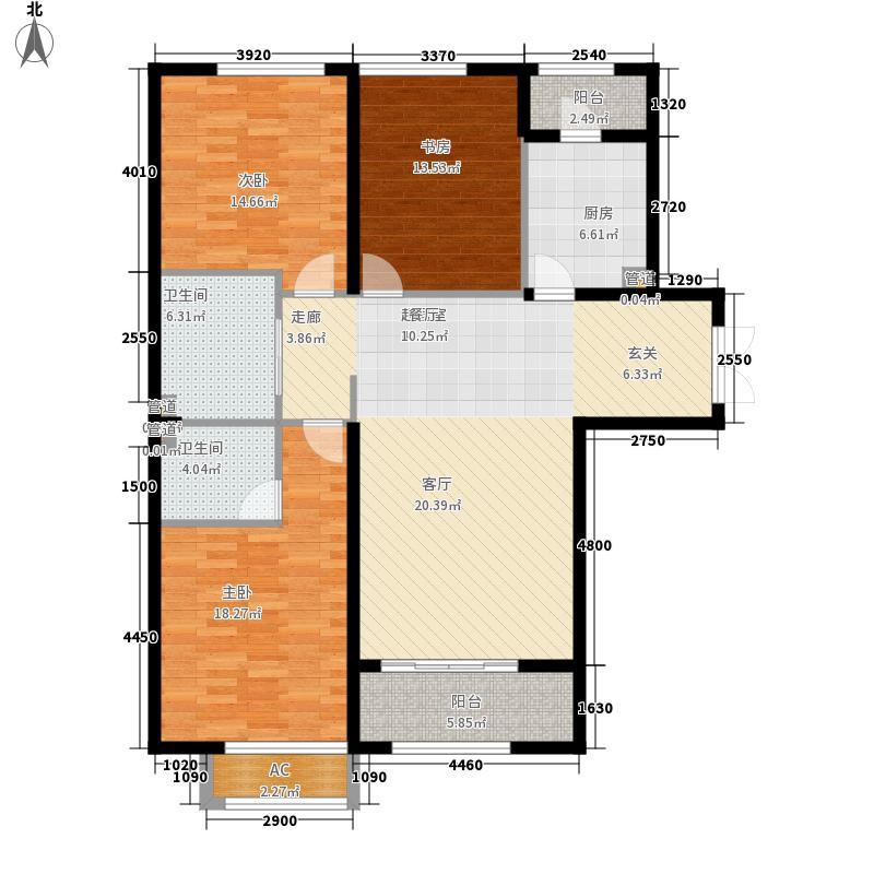 招商贝肯山129.00㎡洋房H1户型3室2厅