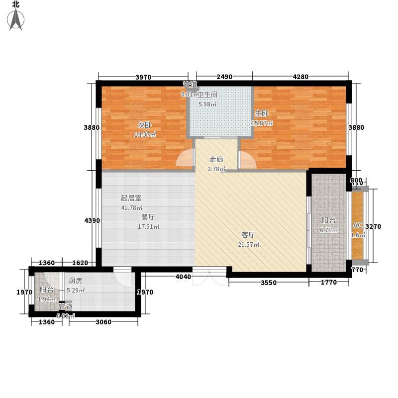 招商贝肯山105.00㎡洋房G3户型2室2厅