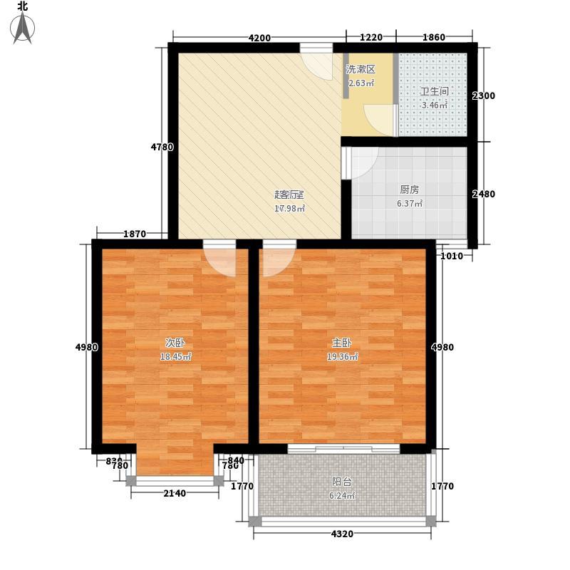 金域阅山83.36㎡E户型2室1厅