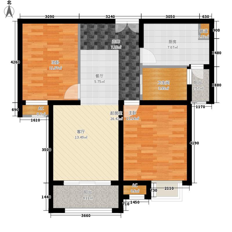 首开水印西堤89.00㎡2室2厅1卫 89平米户型2室2厅1卫