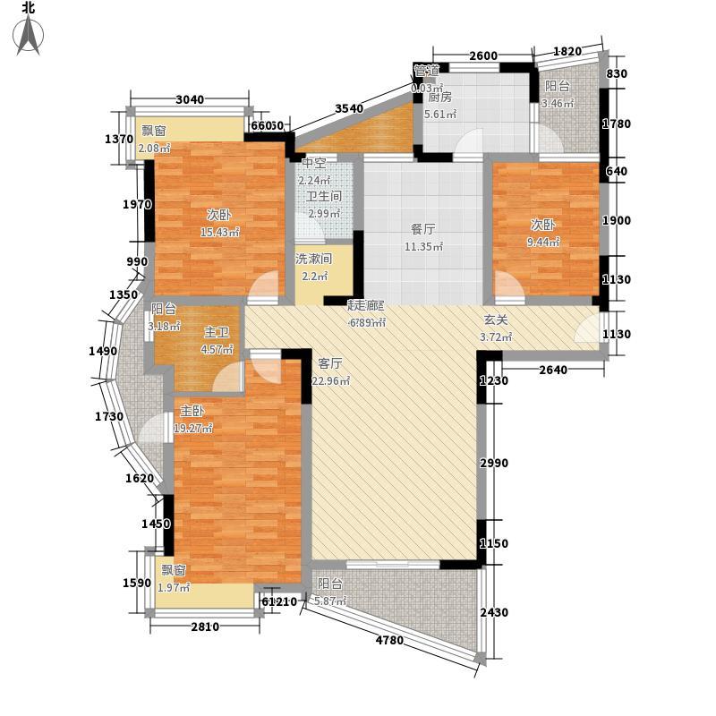 益阳世纪嘉苑142.19㎡180度全景三房户型3室2厅2卫