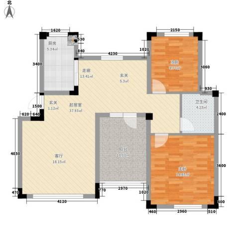 朗钜天域维尔蓝堤2室0厅1卫1厨115.00㎡户型图