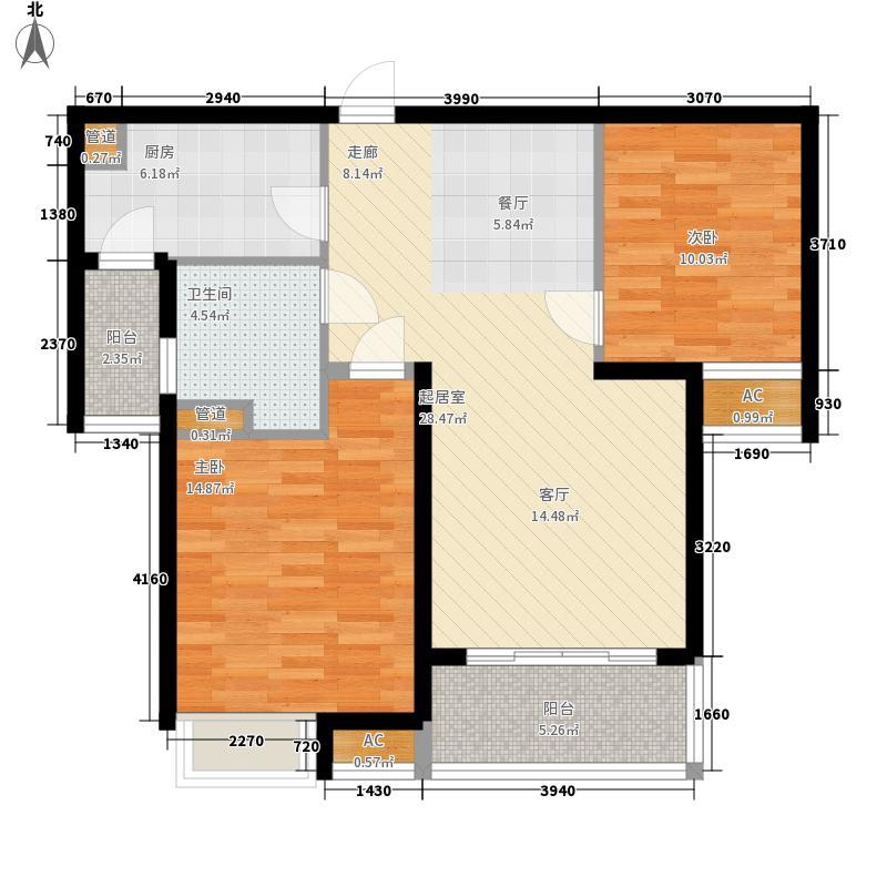 恒大帝景85.00㎡7#一单元2号14#楼2号、3号两室户型2室2厅