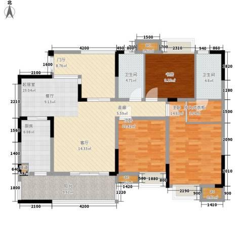鲁能星城九街区3室0厅2卫1厨148.00㎡户型图