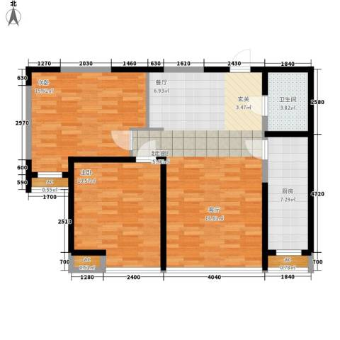 珠江京津国际城2室0厅1卫1厨95.00㎡户型图