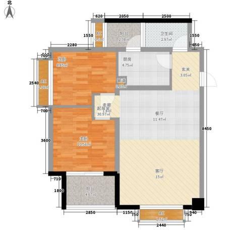 枫丹国际公寓2室0厅1卫1厨95.00㎡户型图