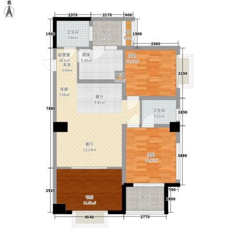 枫丹国际公寓3室0厅2卫1厨123.00㎡户型图
