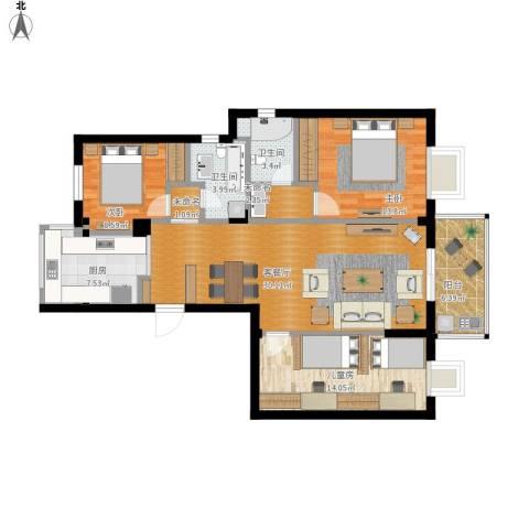 格兰春晨二期加州里3室1厅2卫1厨131.00㎡户型图