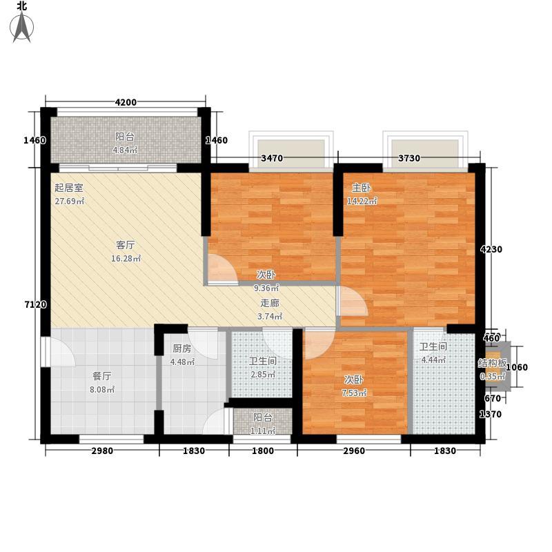 正大十里海107.84㎡B4户型3室2厅