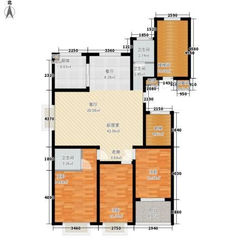 裕昌大学城3室0厅2卫1厨128.00㎡户型图