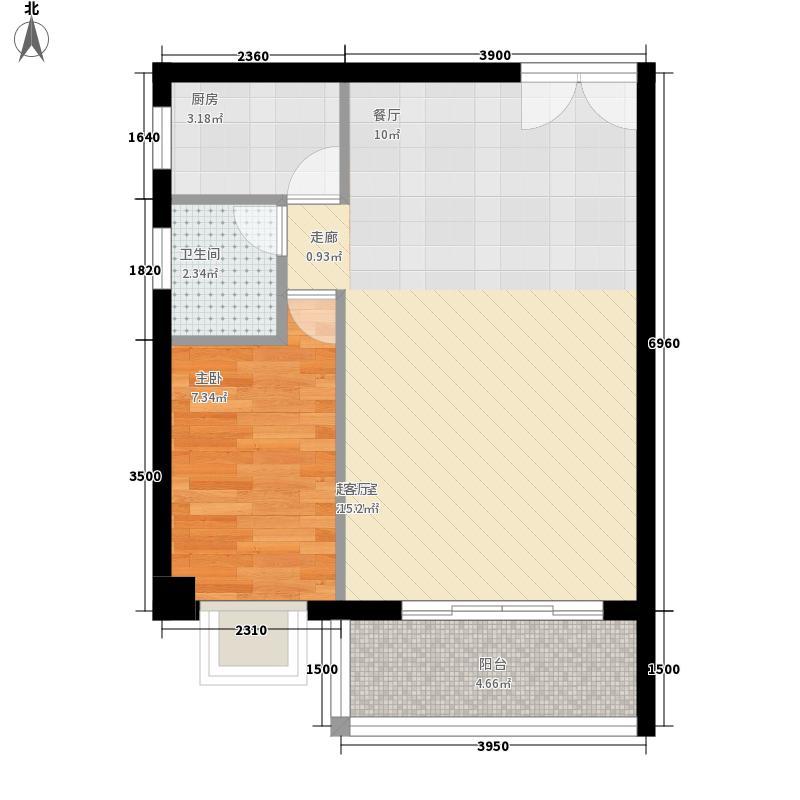 正大十里海61.15㎡E户型1室2厅