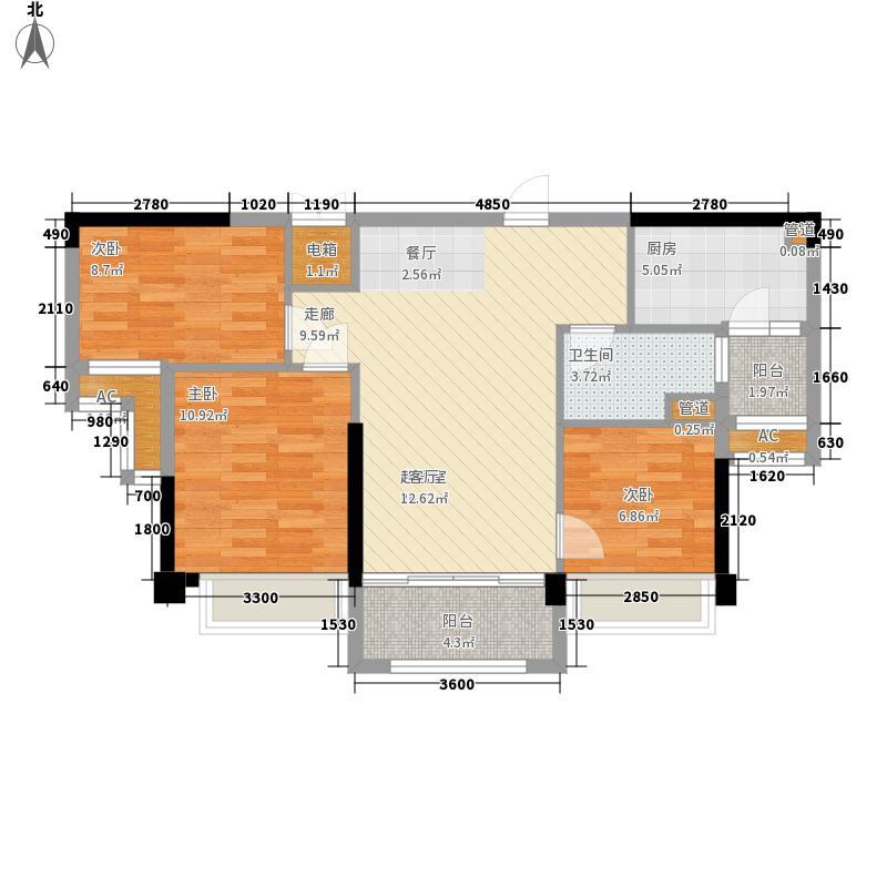 青岛碧桂园92.72㎡湖景洋房J550户型3室2厅