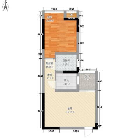 新上海大厦1室0厅1卫1厨51.00㎡户型图