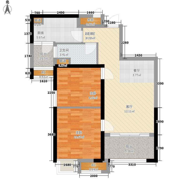 青岛碧桂园83.59㎡湖景洋房J552户型2室2厅