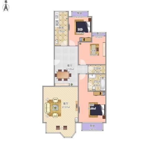 大院小区3室2厅2卫1厨138.00㎡户型图