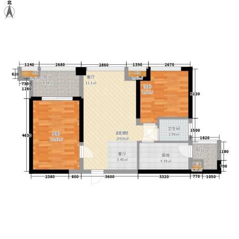 中铁城锦南汇2室0厅1卫1厨72.00㎡户型图