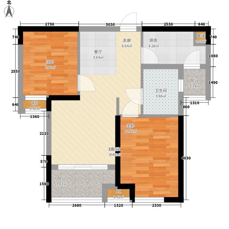 中铁城锦南汇66.00㎡一期1号楼、3号楼标准层F户型