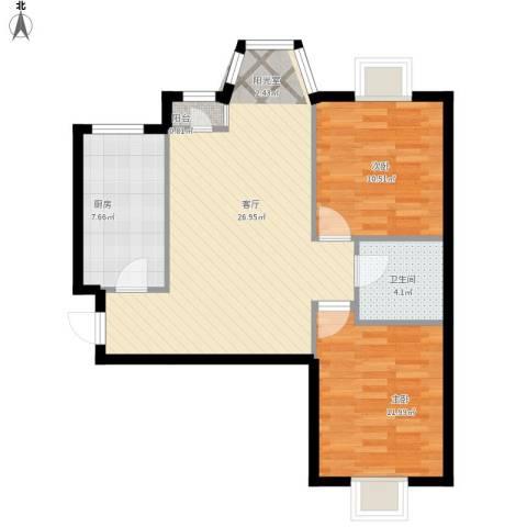 珠江逸景家园2室1厅1卫1厨87.00㎡户型图