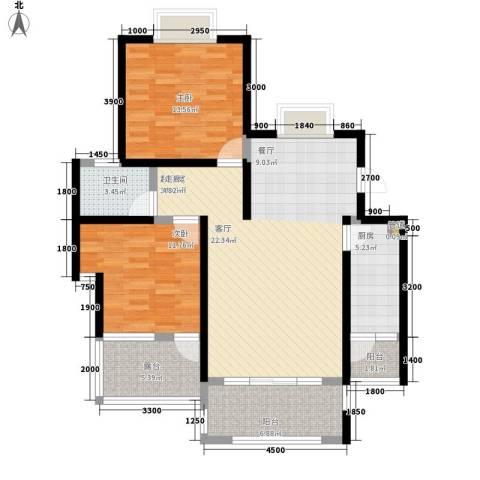 公园一号2室0厅1卫1厨83.00㎡户型图