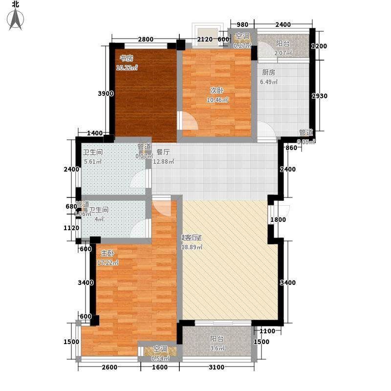 怡景.聚贤庭120.00㎡C标准层 三室两厅两卫 120㎡户型3室2厅2卫