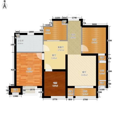 明月湾3室1厅1卫1厨88.00㎡户型图