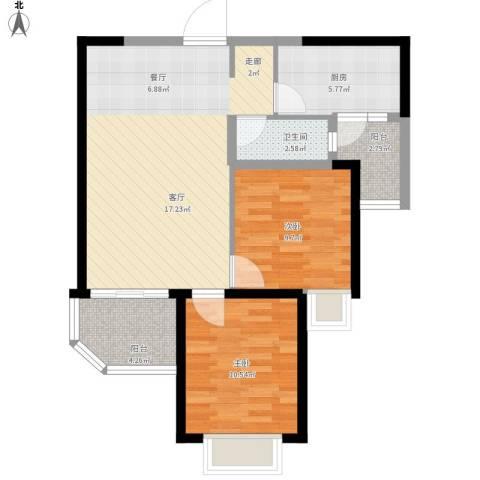沧州恒大城2室1厅1卫1厨89.00㎡户型图