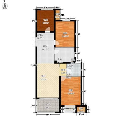 明月湾3室1厅1卫1厨96.00㎡户型图