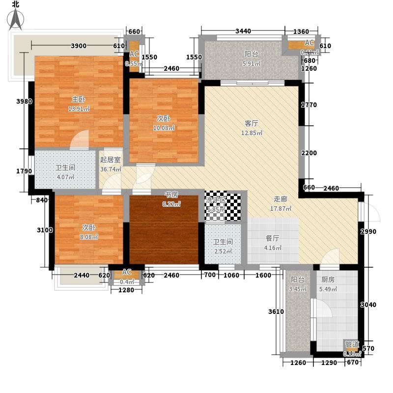 中铁城锦南汇117.00㎡A/A2户型4室2厅