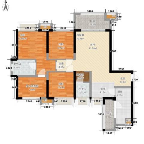中铁城锦南汇3室0厅2卫1厨105.00㎡户型图