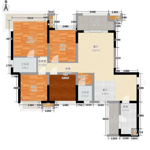 中铁城锦南汇4室0厅2卫1厨117.00㎡户型图