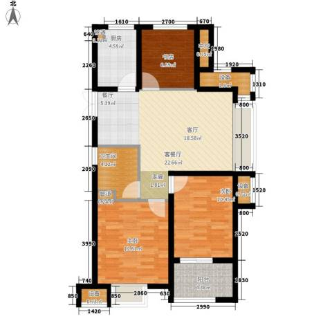 明月湾3室1厅1卫1厨82.00㎡户型图