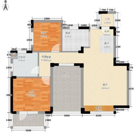 朗钜天域维尔蓝堤2室0厅1卫1厨81.57㎡户型图