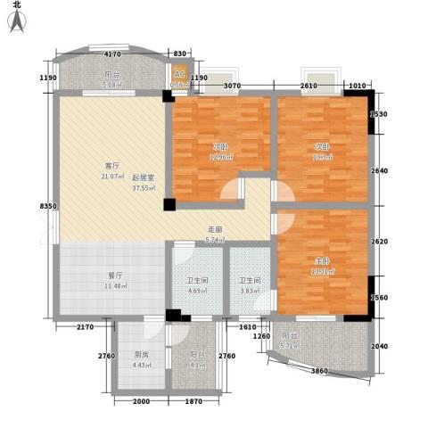 万翔・美域3室0厅2卫1厨153.00㎡户型图