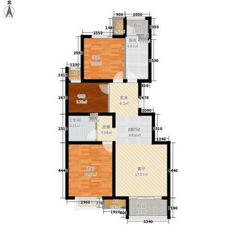 绿地新都会・国际花都3室0厅1卫1厨97.00㎡户型图